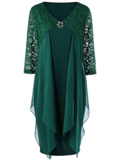 Plus Size Lace Trim Drape Front Dress - BLACKISH GREEN 5XL