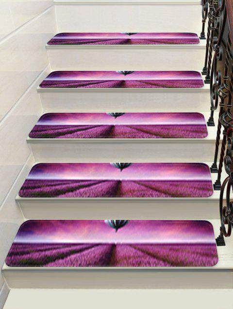 Lavender Hot Air Balloon Print Decorative Stair Floor Rugs - multicolor 5PCS:28*9 INCH