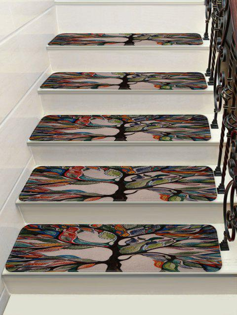 Life of the Tree Print Decorative Stair Floor Rugs - multicolor 5PCS:28*9 INCH