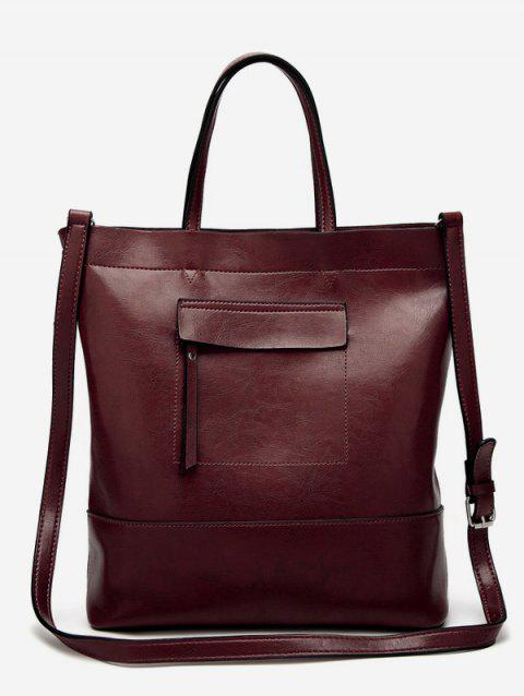 PU Leather Retro Tote Bag - COFFEE VERTICAL