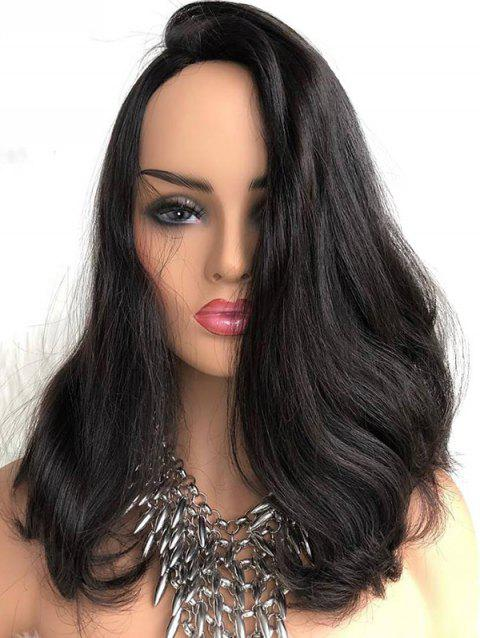 Long Inclined Bang Slightly Curly Synthetic Lace Front Wig - BLACK