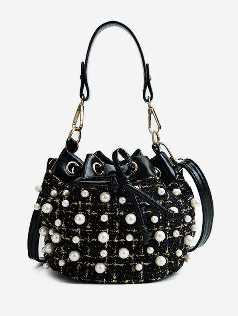 Faux Pearls Splicing String Shoulder Bag - BLACK