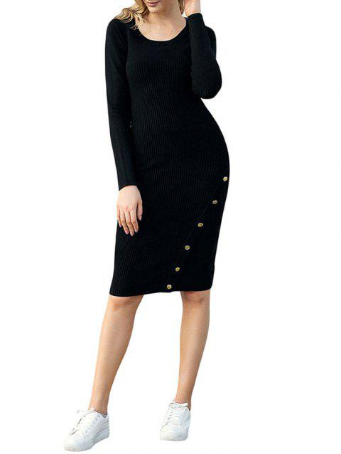 Ribbed Button Embellished Sweater Dress - BLACK M