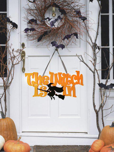 Halloween Broom Witch Wall Hanging Decoration - ORANGE