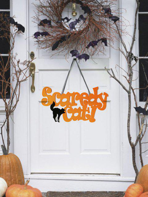 Halloween Scaredy Cat Wall Hanging Art Decor - BEE YELLOW