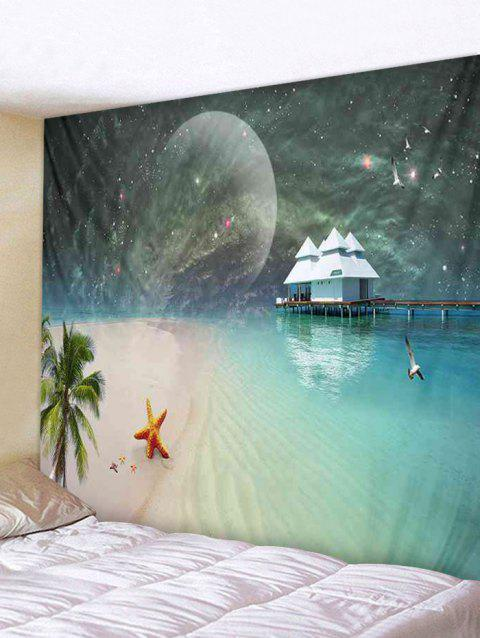 Moon Starry Sky Beach Print Tapestry Wall Art - multicolor W59 INCH * L51 INCH