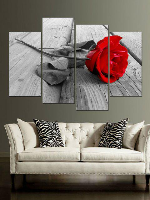 Rose Wood Floor Print Unframed Canvas Paintings - multicolor 2PCS:12*24,2PCS:12*31 INCH( NO FRAME )
