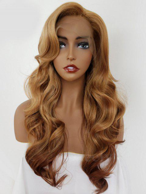 49442900a34 Inclined Bang Long Wavy Synthetic Lace Front Wig