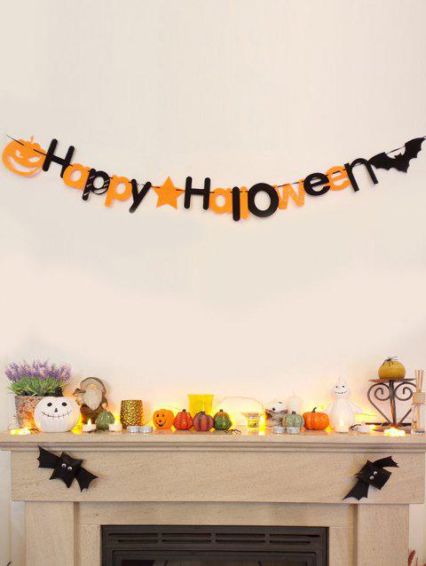 Guirlande Décorative de Drapeaux Motif Inscription Happy Halloween et Citrouille pour Halloween - multicolor