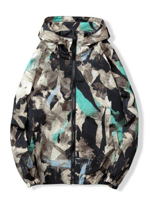 Camouflage Print Pockets Zip Waterproof Jacket - BLACK L