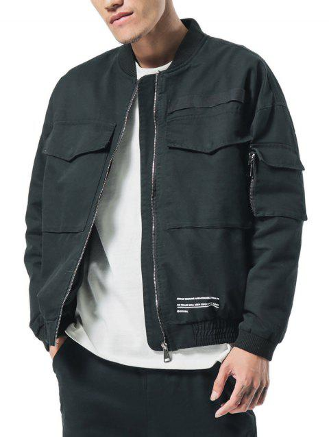 Big Pockets Patch Elastic Cuffs Zip Up Baseball Jacket - BLACK XS