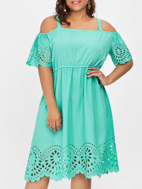 Plus Size Square Neck Cutwork Knee Length Dress