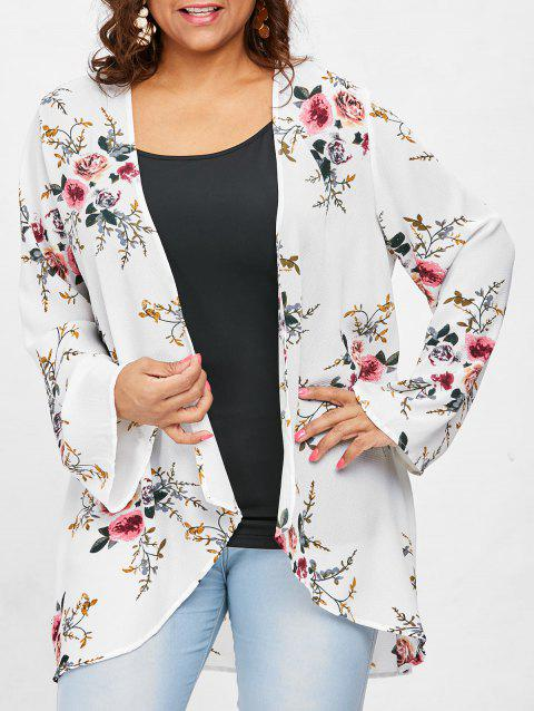 Plus Size Floral Pattern Tunic Coat - WHITE 4X