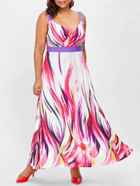 Plus Size Sleeveless Flared Surplice Dress - multicolor L