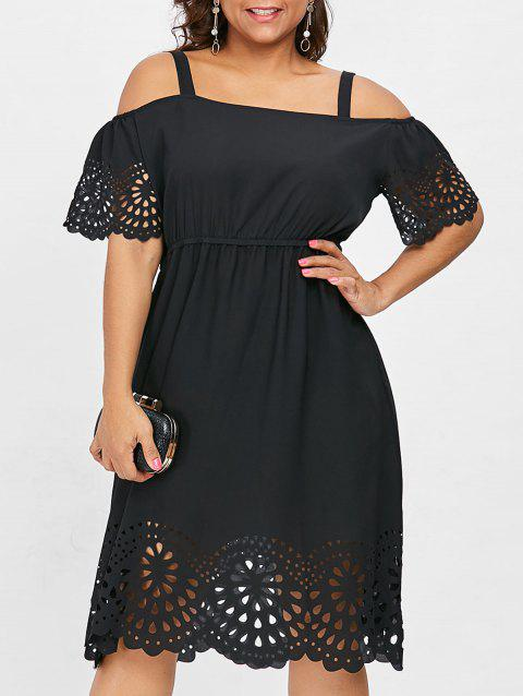 Plus Size Square Neck Cutwork Knee Length Dress - BLACK L