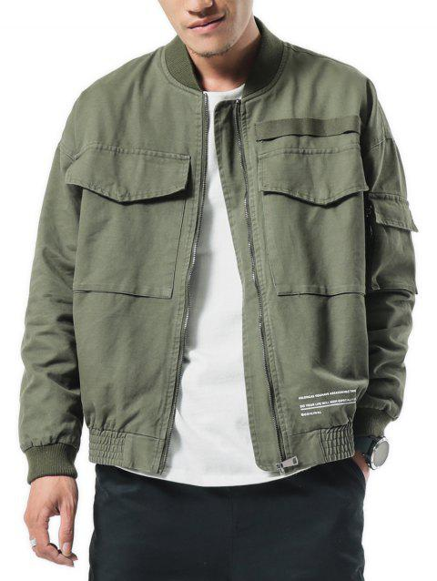 Big Pockets Patch Elastic Cuffs Zip Up Baseball Jacket - ARMY GREEN XS