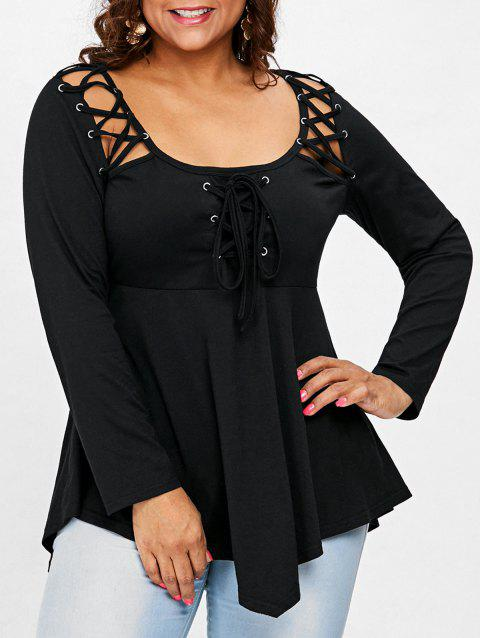 b5958dcdaf8 LIMITED OFFER  2019 Plus Size Criss Cross Swing T-shirt In BLACK 3X ...