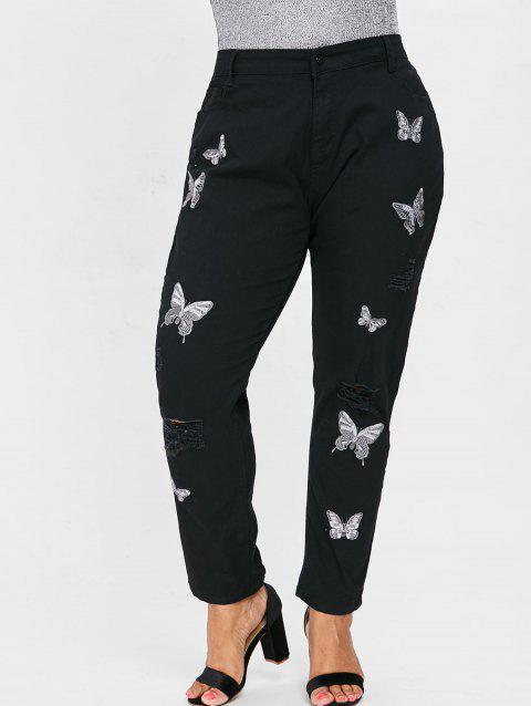 Plus Size Distressed Butterfly Embroidery Jeans - BLACK L