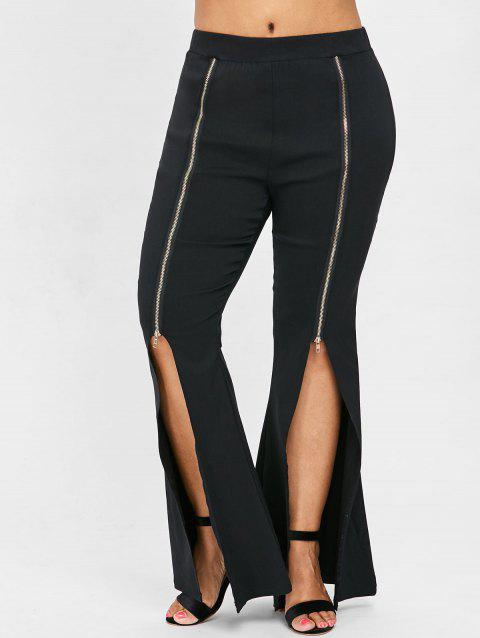 Plus Size Slit Front Zipper Embellished Flare Pants - BLACK 4X