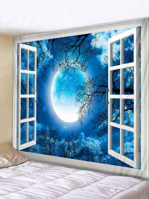 Window Moon Forest Print Tapestry Wall Art - BLUE W59 INCH * L59 INCH