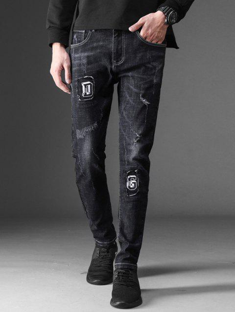 0708ba0cf66 41% OFF] 2019 Faded Wash Ripped Letter Applique Jeans In BLACK ...