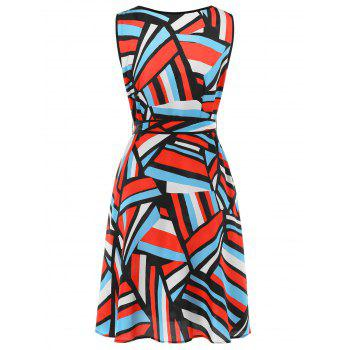 Abstract Geometry Print Faux Wrap Dress - multicolor L