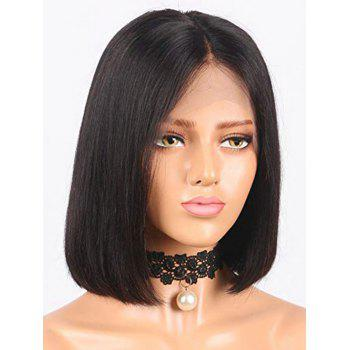 Short Center Parting Straight Bob Lace Front Real Human Hair Wig - BLACK 10INCH