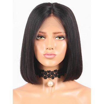 Short Center Parting Straight Bob Lace Front Real Human Hair Wig - BLACK 12INCH