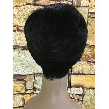 Heat Resistant Synthetic Oblique Fringe Short Straight Wig - BLACK