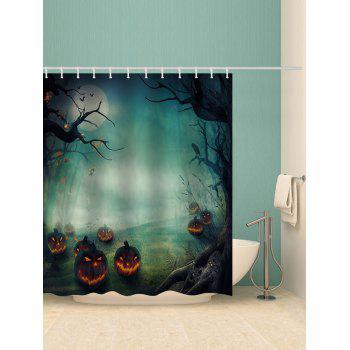 Halloween Pumpkin Printed Waterproof Bath Curtain - multicolor W71 INCH * L71 INCH