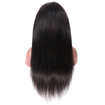 Free Part Medium Straight Human Hair Lace Front Wig - BLACK 16INCH