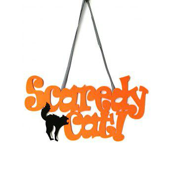 Inscription Scaredy Cat Décor à Suspendre au Mur pour Halloween - Jaune d'Abeille