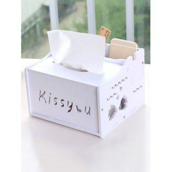 Kiss You Heart Pattern Paper Extraction Storage Box - WHITE