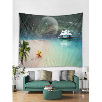 Moon Starry Sky Beach Print Tapestry Wall Art - multicolor W79 INCH * L59 INCH