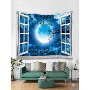 Window Moon Forest Print Tapestry Wall Art - BLUE W79 INCH * L59 INCH