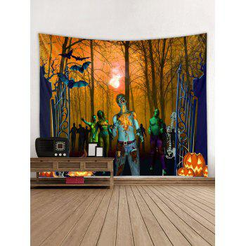 Halloween Forest Zombie Print Tapestry Wall Art - HALLOWEEN ORANGE W59 INCH * L59 INCH