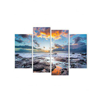 Seaside Stones Print Unframed Canvas Paintings - multicolor 2PCS:12*24,2PCS:12*31 INCH( NO FRAME )
