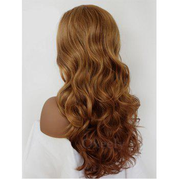 Inclined Bang Long Wavy Synthetic Lace Front Wig - LIGHT BROWN