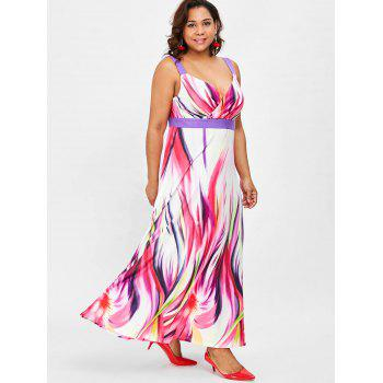 Plus Size Sleeveless Flared Surplice Dress - multicolor 5X