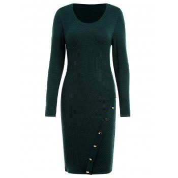 Ribbed Button Embellished Sweater Dress - GREEN M
