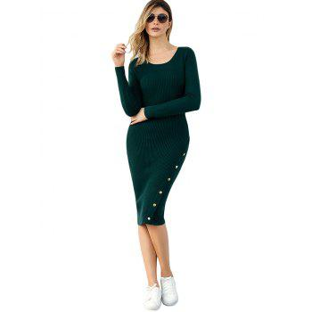 Ribbed Button Embellished Sweater Dress - GREEN L