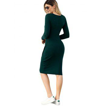 Ribbed Button Embellished Sweater Dress - GREEN S