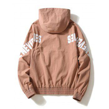 Casual Letter Zipper Up Side Pocket Hooded Jacket - BEAN RED M