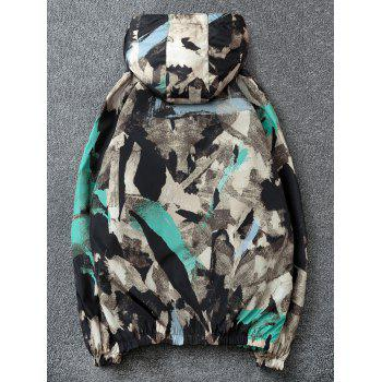 Camouflage Print Pockets Zip Waterproof Jacket - BLACK XL