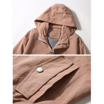 Casual Letter Zipper Up Side Pocket Hooded Jacket - BEAN RED XS