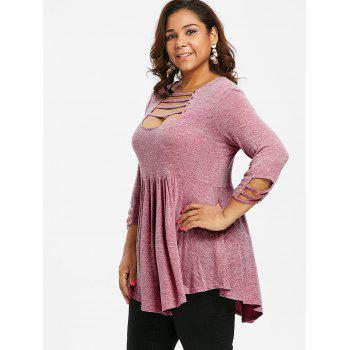 Plus Size Ladder Cut Out A Line T-shirt - LIPSTICK PINK L