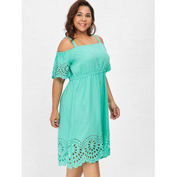 2018 Plus Size Square Neck Cutwork Knee Length Dress Mint Green X In