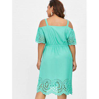 Plus Size Square Neck Cutwork Knee Length Dress - MINT GREEN 2X