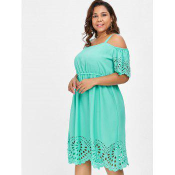 Plus Size Square Neck Cutwork Knee Length Dress - MINT GREEN 4X