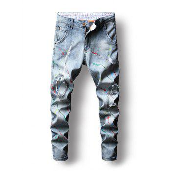 Zip Fly Colorful Paint Splatter Jeans